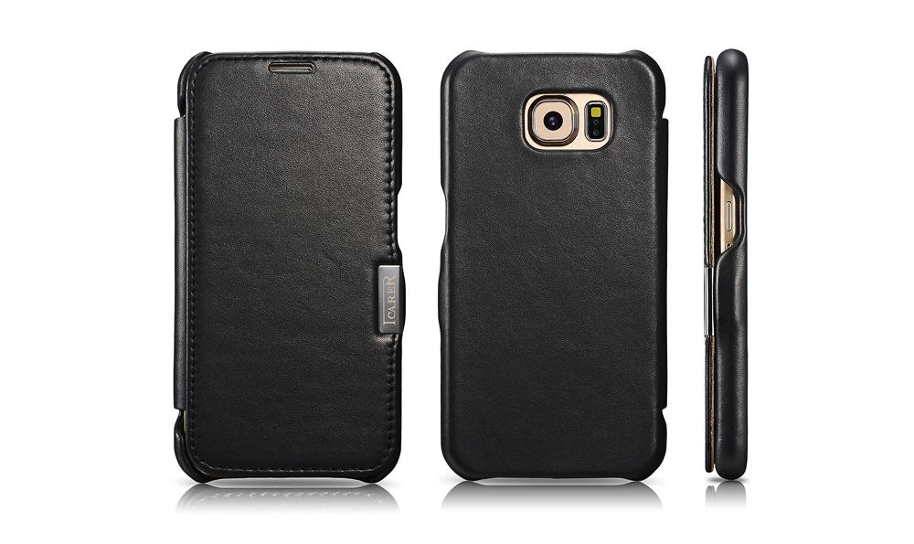 iCarer Samsung Galaxy S6 Side Open Luxury Series Genuine Leather Case Cover 14