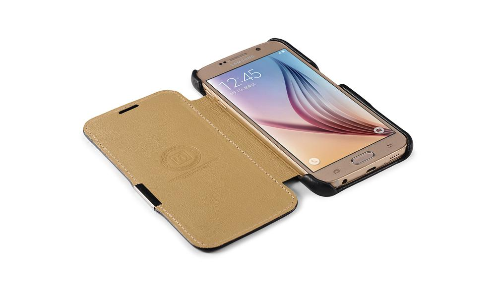 iCarer Samsung Galaxy S6 Side Open Luxury Series Genuine Leather Case Cover 8