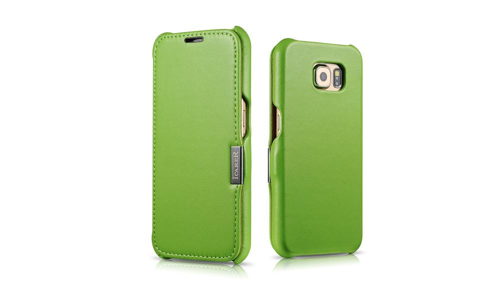 iCarer Samsung Galaxy S6 Side Open Luxury Series Genuine Leather Case Cover 12