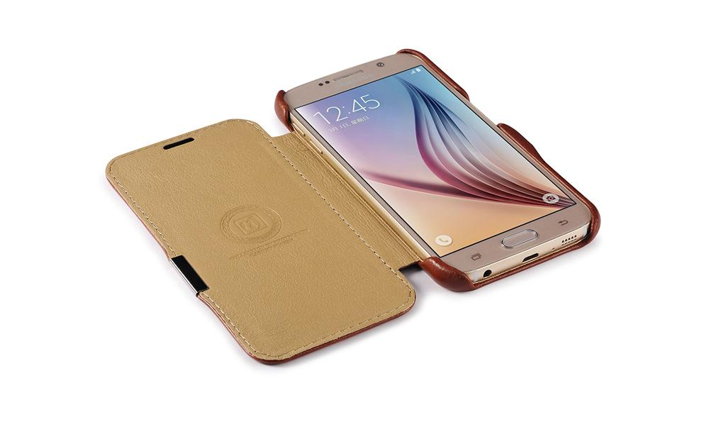 iCarer Samsung Galaxy S6 Side Open Vintage Series Genuine Leather Case Cover 8