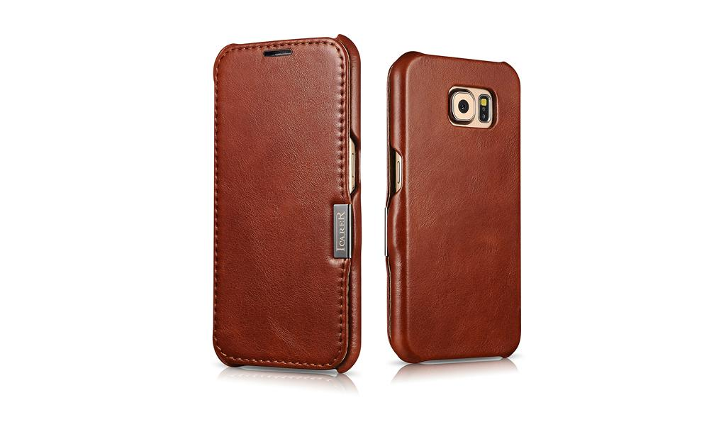 iCarer Samsung Galaxy S6 Side Open Vintage Series Genuine Leather Case Cover 18