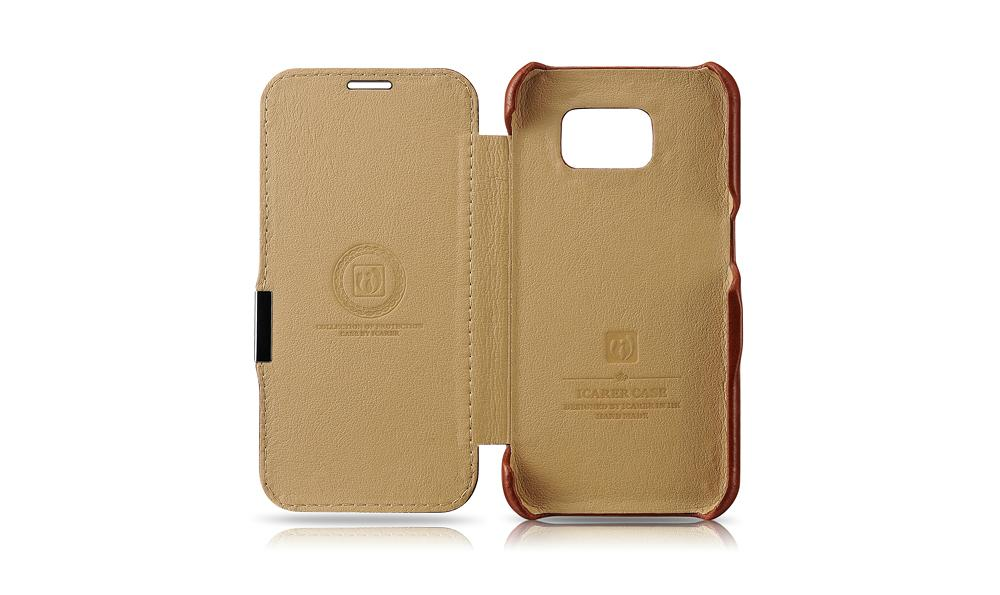 iCarer Samsung Galaxy S6 Side Open Vintage Series Genuine Leather Case Cover 9