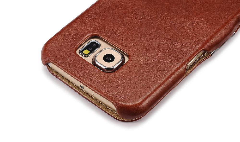 iCarer Samsung Galaxy S6 Side Open Vintage Series Genuine Leather Case Cover 10