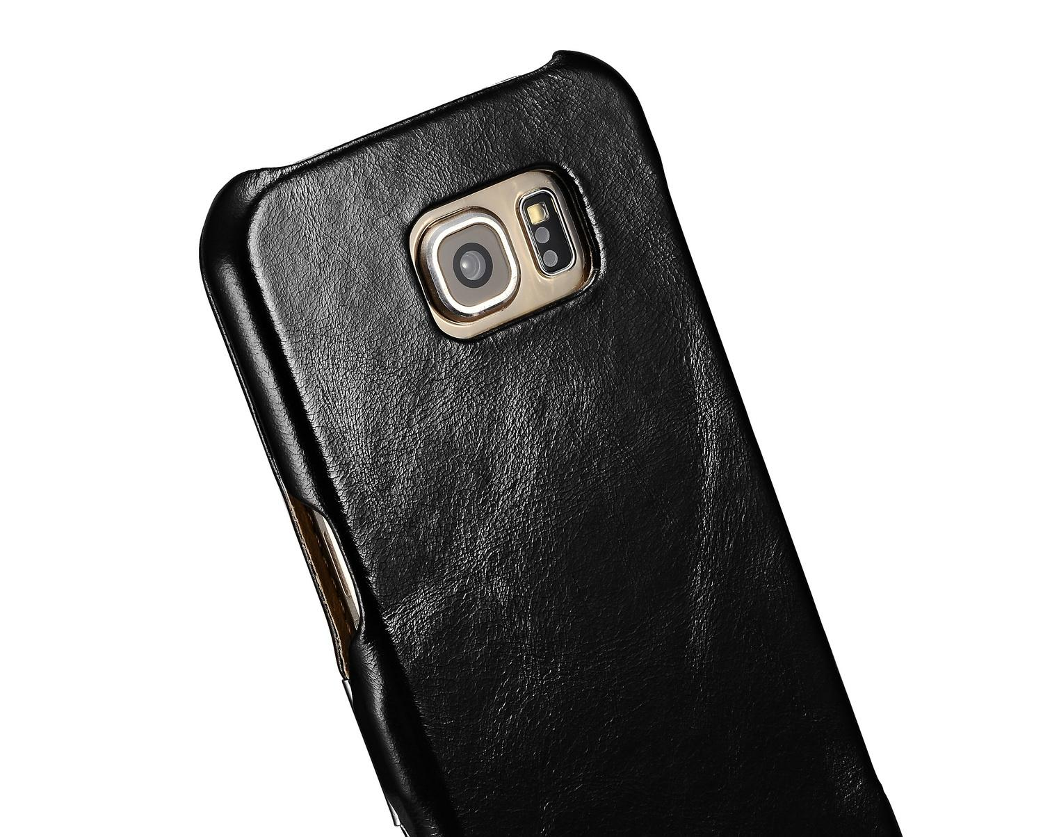 iCarer Samsung Galaxy S6 Side Open Vintage Series Genuine Leather Case Cover 13