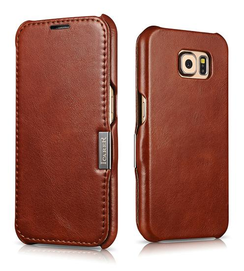 iCarer Samsung Galaxy S6 Side Open Vintage Series Genuine Leather Case Cover 1