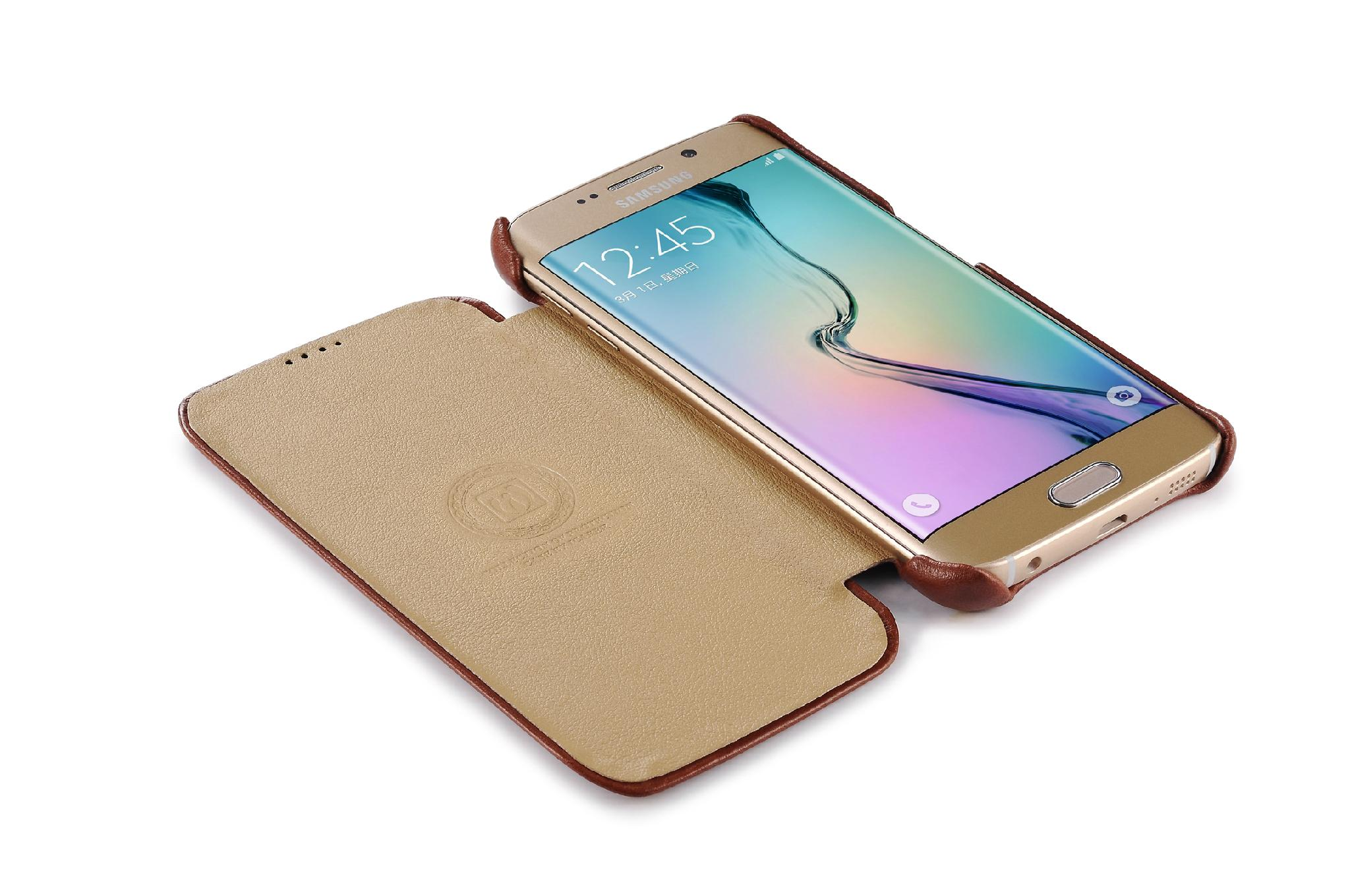 iCarer Samsung Galaxy S6 Edge Side Open Vintage Series Genuine Leather Case 5