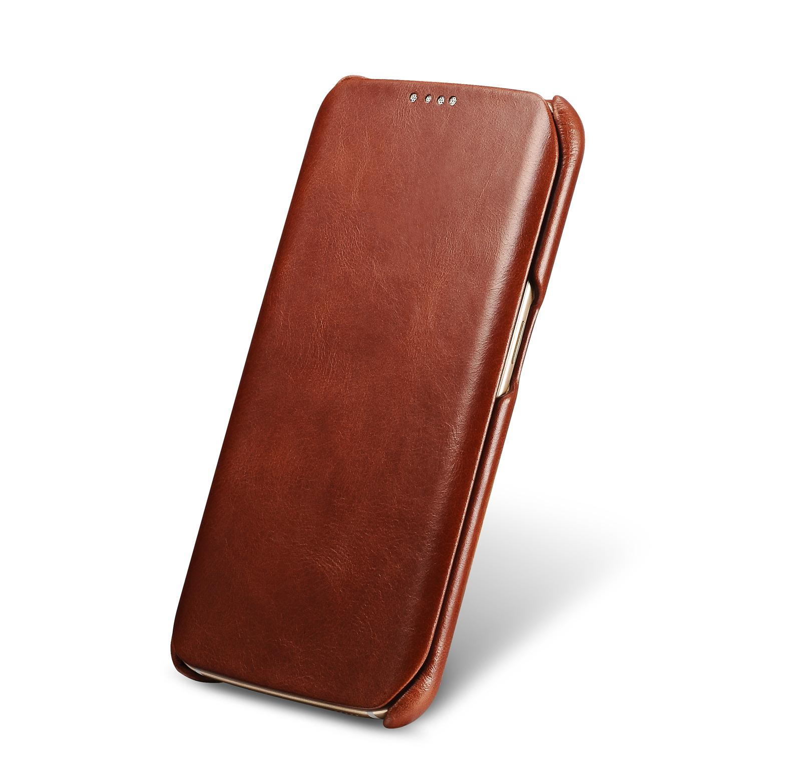 iCarer Samsung Galaxy S6 Edge Side Open Vintage Series Genuine Leather Case 2