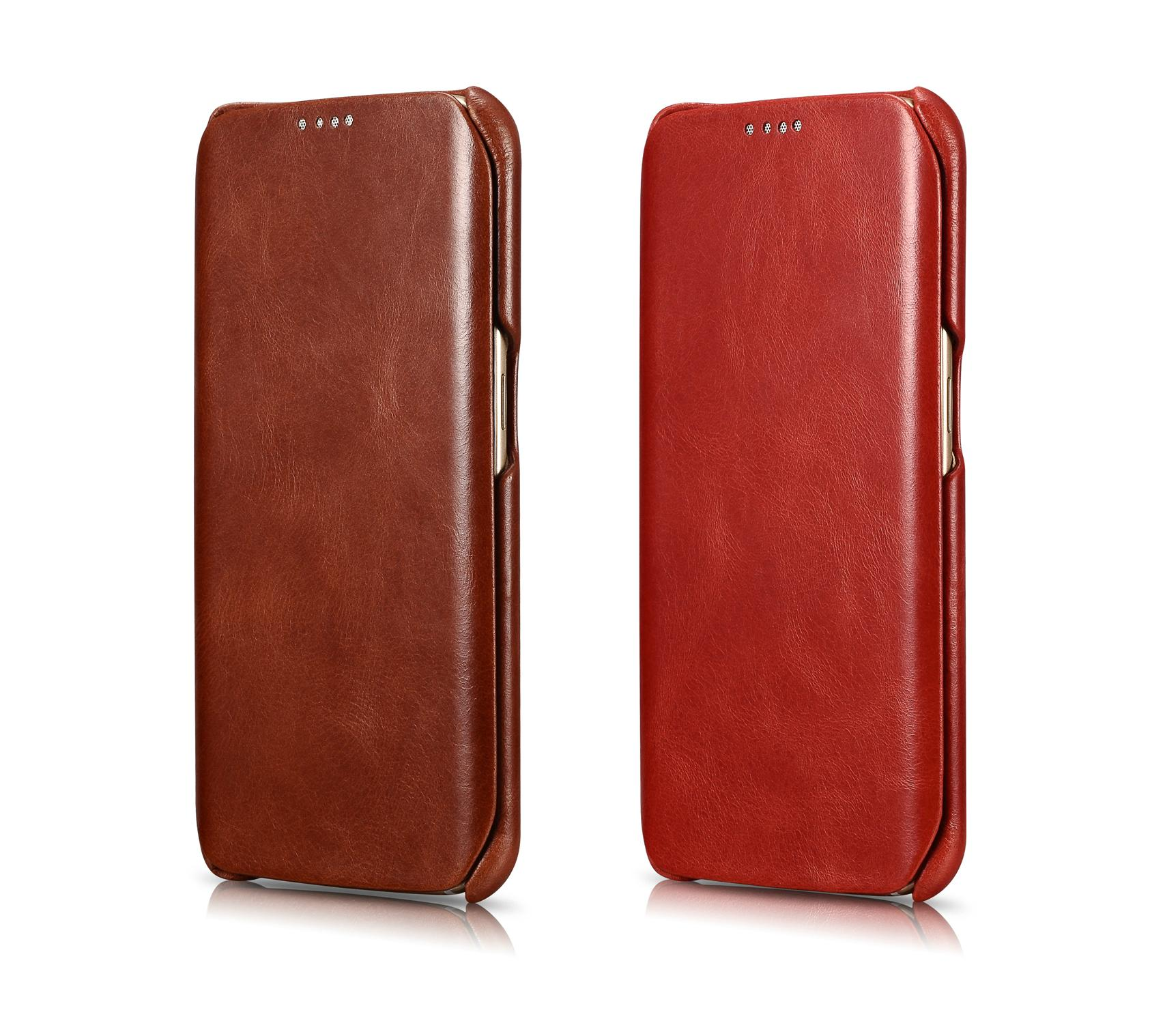 iCarer Samsung Galaxy S6 Edge Side Open Vintage Series Genuine Leather Case 15