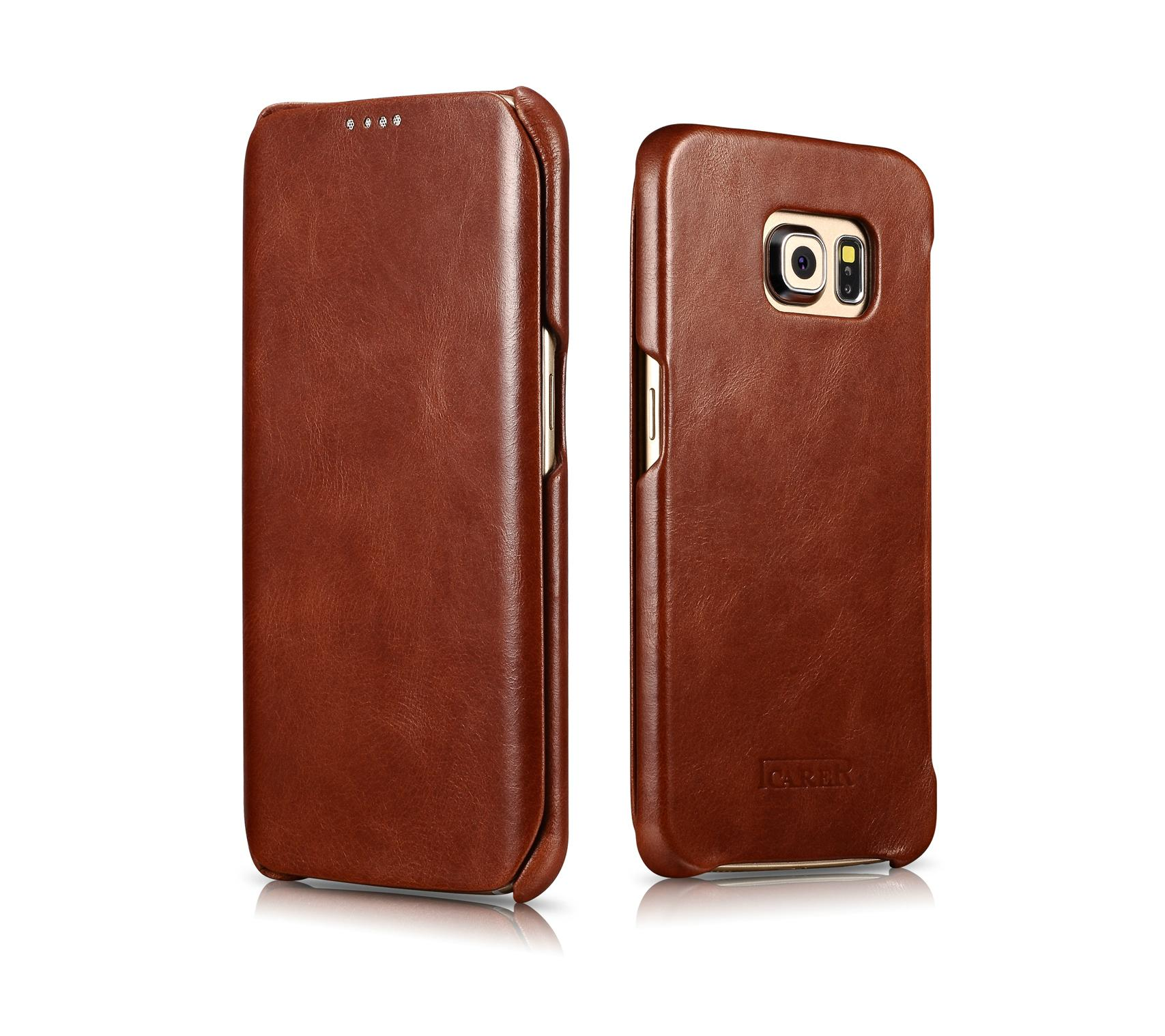 iCarer Samsung Galaxy S6 Edge Side Open Vintage Series Genuine Leather Case 16