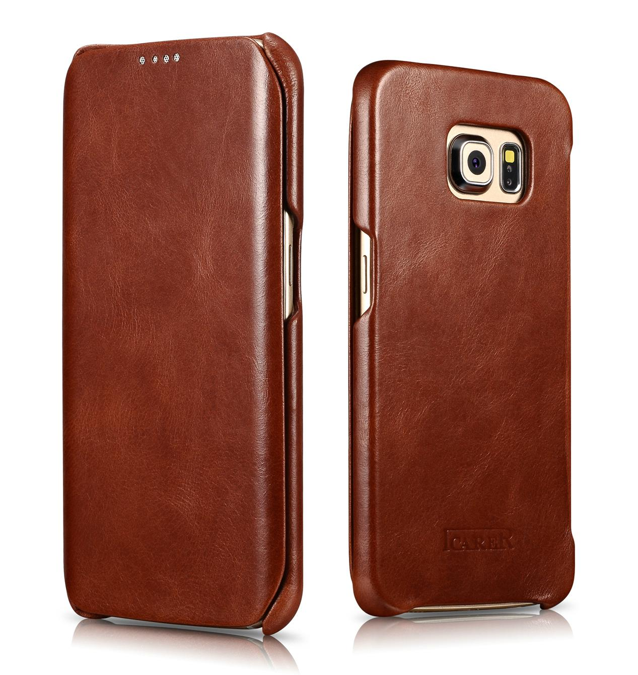 iCarer Samsung Galaxy S6 Edge Side Open Vintage Series Genuine Leather Case 1