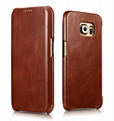 iCarer Samsung Galaxy S6 Edge Side Open Vintage Series Genuine Leather Case