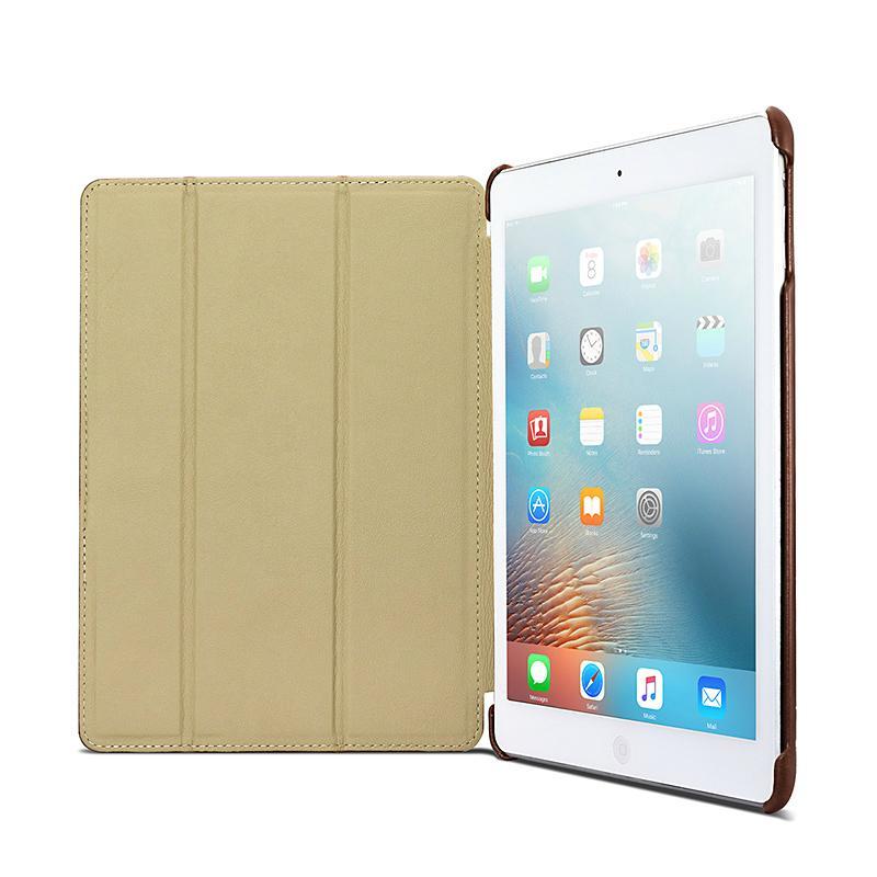 iCarer 2017 Luxury Genuine Leather Flip Case for New iPad 9.7 inch 4