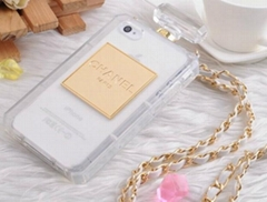 Luxury Brand Perfume Bottle Case New TPU Cover for iPhone 5 5S 4 4S With Chain