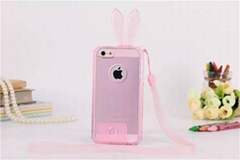New Clear Rabbit TPU Protective Case with Lanyard for Apple iphone 6 5/5S