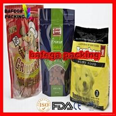 stand up pet food ziplock poly bag