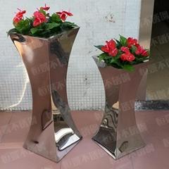 双喇叭形不锈钢花盆