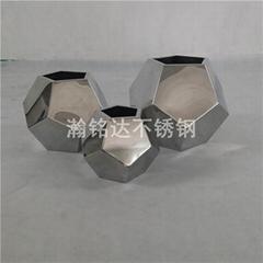 不鏽鋼足球花瓶 台面花瓶