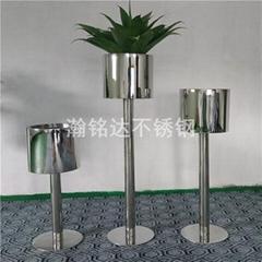 不锈钢花盆 酒店商场装饰花瓶