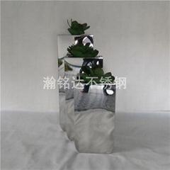 不锈钢花盆 亮光金属花箱