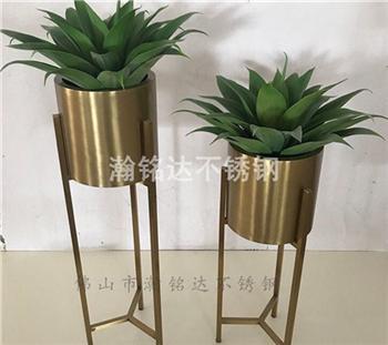 不鏽鋼圓花盆架 電鍍鈦金花架 1