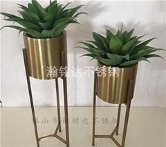 不鏽鋼圓花盆架 電鍍鈦金花架