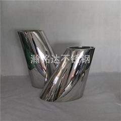 不鏽鋼傾斜花盆 商場酒店擺件花瓶