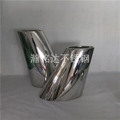 不锈钢倾斜花盆 商场酒店摆件花瓶