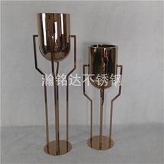 不鏽鋼電鍍金杯花盆