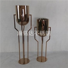 不銹鋼電鍍金杯花盆