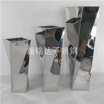 不鏽鋼扭扭花瓶 落地花盆 1