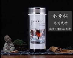 公司年會禮品景德鎮雙層陶瓷茶杯保溫杯