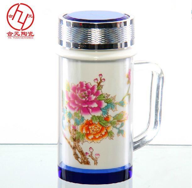 公司年會禮品景德鎮雙層陶瓷茶杯保溫杯 3