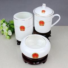 辦公文化禮品陶瓷茶杯煙灰缸筆筒套裝