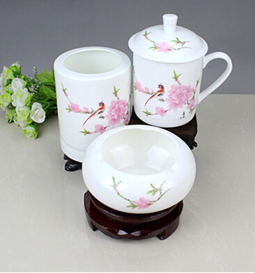 辦公文化禮品陶瓷茶杯煙灰缸筆筒套裝 5