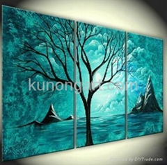 Handmade Canvas Arts Landscape Painting with Stretched Frame