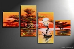 Handpainted African Canvas Arts Landscape Painting with Stretched Frame