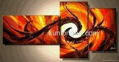 Canvas Art Abstract Group Oil Paintings with Stretched Frame