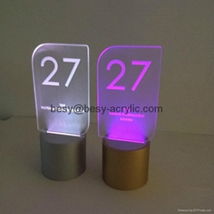 Customized Acrylic Table Number Plate With base lighting box