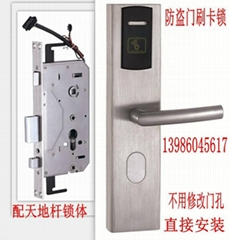 防盗门(安全门)刷卡锁(带天地杆锁体) IC卡锁
