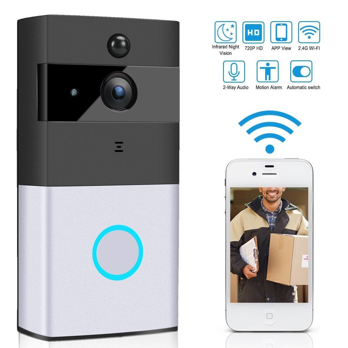 WiFi Doorbell Intercom Two-way Audio Wireless 720P Security Camera Alarm 3