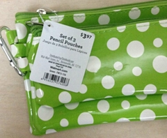 3 Sets Of  Pencil Pouches Zipper Bank Bags Canvas With Dot Printing