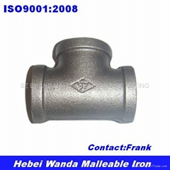 Black Malleable Iron Pipe Fitting Tee 130