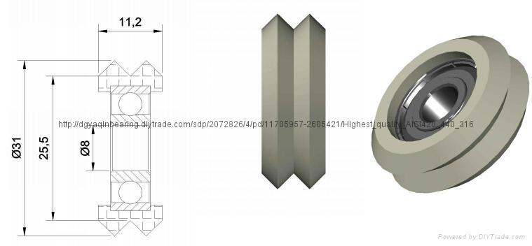 China 8x31x11.2mm high speed 608zz v groove wheel 1