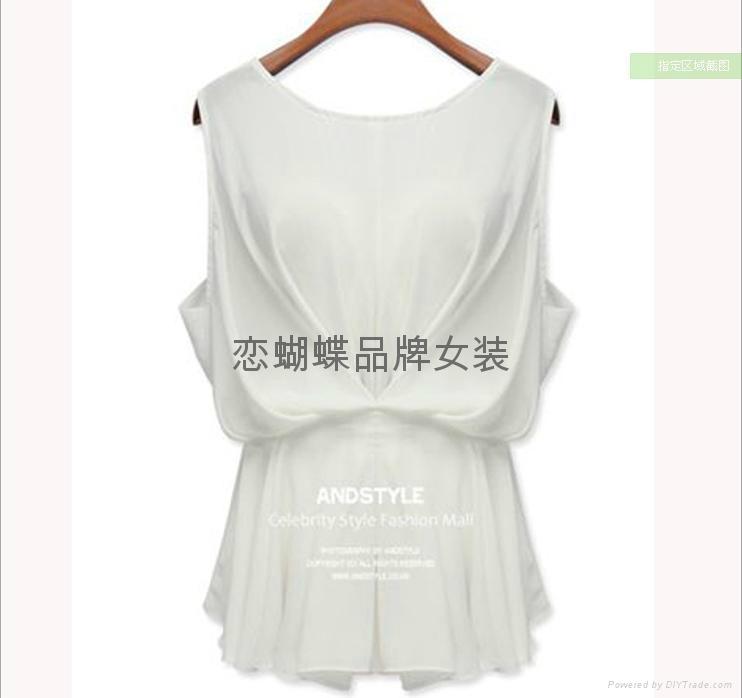 厂家供应夏新款高端欧美雪纺女士T恤 2