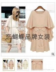 欧美原单连衣裙 2013春夏装女装假两件裙子不规则系带连衣裙