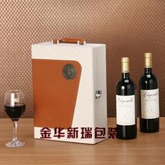 加工定制高档双瓶装红酒皮盒 红酒包装盒 葡萄酒盒