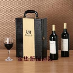 2016新款黑色金色鳄鱼纹双瓶装红酒盒 红酒皮盒双支