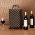 現貨直銷方格紋皮質紅酒盒雙支