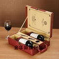 義烏工廠生產熱銷雙瓶裝皮質紅酒盒  2