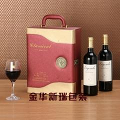 义乌工厂生产热销双瓶装皮质红酒盒